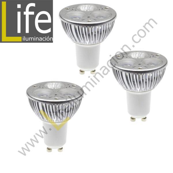 3XGU10/LED/3W/60K/220V THREE PACK LAMPARA LED GU10 3W 6000K 220V-60HZ 1