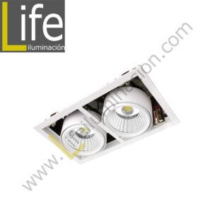 501/LED/50W/30K/WH SPOT LED P/EMPOTRAR 2X25W 3000K WH 220V/60HZ 3300 Lm – 4400 Lm
